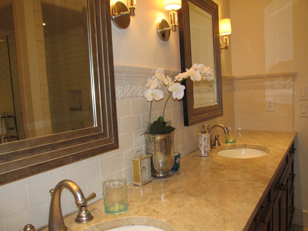 Custom master bath vanity backsplash artarry builders for Bathroom builders